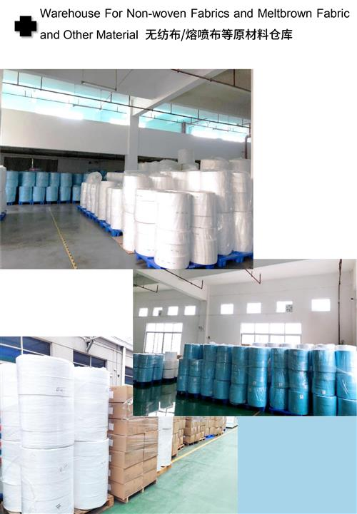 Raw material warehouse for disposable surgical face mask items - non-woven
