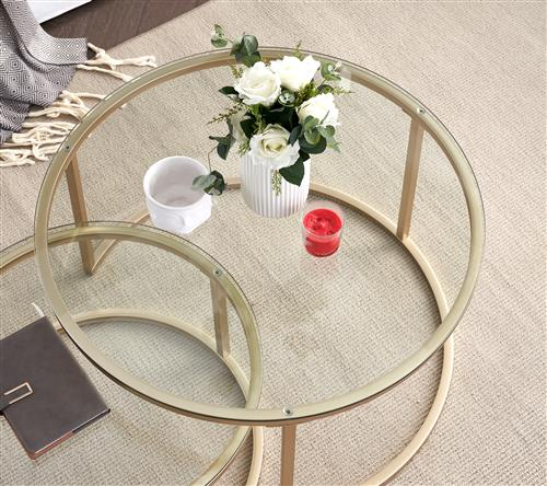 Modern round shape nesting clear glass top high end gold coated metal frame - custom made from China manufacturer full range and size