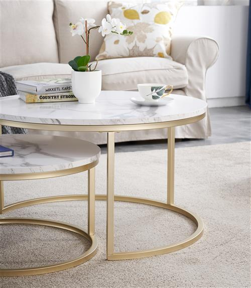 Nesting Marble coffee accent tables 2 pieces set with golden champange coating steel frames assembly - Wholesale buy living room side table from China factory