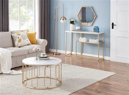 Side Table Gold - Buy Coffee, Console & End Tables Living Room Furniture - Natural While Marble Tops Champagne Power Coated