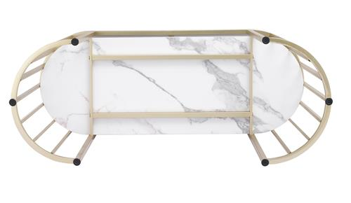 Trendy modern nail manicure table assembly - Natural texture marble high end gold champagne coated stainless steel frame - OEM & ODM from direct China furniture factory