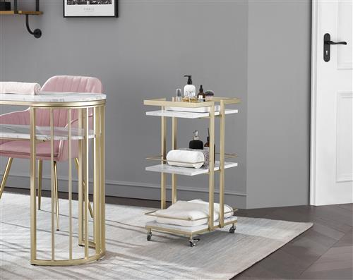 Trolley Bar cart & cosole side table wholesale buy in custom made bulk order from China furniture factory - white marble tops multiple layers gold color power coating end