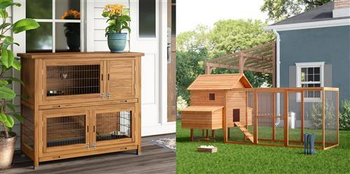 Professional outdoor chicken coop and rabbit hutch with large space - Small animal house custom made in China
